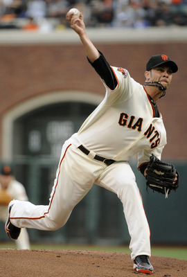 SAN FRANCISCO, CA - JULY 18: Ryan Vogelsong #32 of the San Francisco Giants pitches against the Los Angeles Dodgers in the first inning during an MLB baseball game at AT&amp;T Park July 18, 2011 in San Francisco, California. (Photo by Thearon W. Henderson/Get