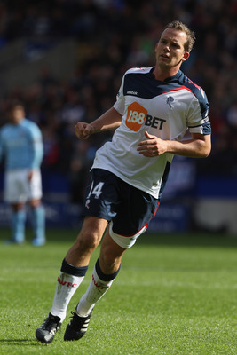 BOLTON, ENGLAND - MAY 22:  Kevin Davies of Bolton Wanderers in action during the Barclays Premier League match between  Bolton Wanderers and Manchester City at the Reebok Stadium on May 22, 2011 in Bolton, England.  (Photo by Michael Steele/Getty Images)