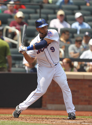 NEW YORK, NY - JULY 21: Ronny Paulino #9 of the New York Mets in action against the St. Louis Cardinals during their game on July 21, 2011 at Citi Field in the Flushing neighborhood of the Queens borough of New York City.  (Photo by Al Bello/Getty Images)