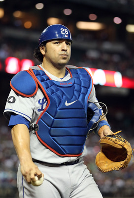 PHOENIX, AZ - JULY 17:  Catcher Rod Barajas #28 of the Los Angeles Dodgers walks off the field during the Major League Baseball game against the Arizona Diamondbacks at Chase Field on July 17, 2011 in Phoenix, Arizona. The Diamondbacks defeated the Dodger