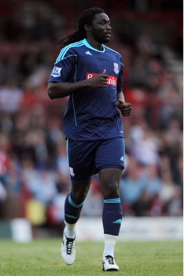 BRENTFORD, ENGLAND - JULY 22:  Kenwyne Jones of Stoke looks on during the Pre Season Friendly match between Brentford and Stoke City at Griffin Park on July 22, 2011 in Brentford, England.  (Photo by Dean Mouhtaropoulos/Getty Images)