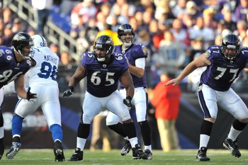 BALTIMORE - NOVEMBER 22:  Chris Chester #65 of the Baltimore Ravens defends against the Indianapolis Colts at M&amp;T Bank Stadium on November 22, 2009 in Baltimore, Maryland. The Colts defeated the Ravens 17-15. (Photo by Larry French/Getty Images)