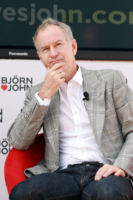 WIMBLEDON, ENGLAND - JULY 01:  Wimbledon tennis legend John McEnroe speaks at a photocall at Wimbledon Park on July 1, 2011 in Wimbledon, England. Borg and McEnroe teaming up to launch a limited edition underwear collection.  (Photo by Julian Finney/Getty