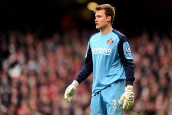 LONDON, ENGLAND - MARCH 05: Simon Mignolet of Sunderland looks on during the Barclays Premier League match between Arsenal and Sunderland at Emirates Stadium on March 5, 2011 in London, England.  (Photo by Mike Hewitt/Getty Images)