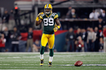 ARLINGTON, TX - FEBRUARY 06: James Jones #89 of the Green Bay Packers reacts after missing a catch against the Pittsburgh Steelers during Super Bowl XLV at Cowboys Stadium on February 6, 2011 in Arlington, Texas.  (Photo by Kevin C. Cox/Getty Images)