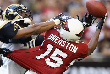 GLENDALE, AZ - DECEMBER 05:  Wide receiver Steve Breaston #15 of the Arizona Cardinals is unable to catch a long pass against the St. Louis Rams during the NFL game at the University of Phoenix Stadium on December 5, 2010 in Glendale, Arizona. The Rams de