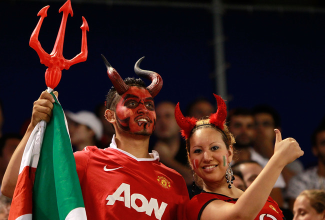 HARRISON, NJ - JULY 27:  Fans cheer as the Manchester United take on the MLS All-Stars during the MLS All-Star Game at Red Bull Arena on July 27, 2011 in Harrison, New Jersey. Manchester United won 4-0. (Photo by Chris Trotman/Getty Images)