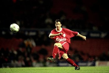 10 Nov 1998:  Robbie Fowler of Liverpool during the Worthington Cup Round 4 match against Tottenham Hotspurs at Anfield in Liverpool, England. Tottenham won the game 3-1. \ Mandatory Credit: Ross Kinnaird /Allsport