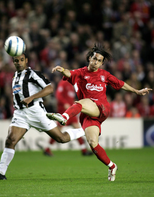 LIVERPOOL, UNITED KINGDOM - APRIL 5:  Luis Garcia of Liverpool scores a goal during the UEFA Champions League Quater-final, first leg match between Liverpool and Juventus at Anfield on April 5, 2005 in Liverpool, England.   (Photo by Michael Steele/Getty