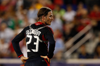 HARRISON, NJ - JULY 27:  David Beckham #23 of the MLS All-Stars look on while playing against the Manchester United during the MLS All-Star Game at Red Bull Arena on July 27, 2011 in Harrison, New Jersey.  (Photo by Mike Stobe/Getty Images for the New Yor