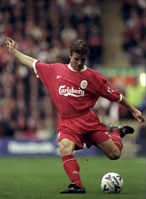 4 Oct 1998:  Stig Inge Bjornebye of Liverpool in action during the FA Carling Premiership match against Chelsea at Anfield in Liverpool, England. \ Mandatory Credit: Ross Kinnaird /Allsport
