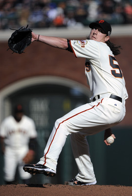SAN FRANCISCO, CA - JULY 9: Tim Lincecum #55 of the San Francisco Giants pitches against the New York Mets in the first inning during a MLB baseball game at AT&T Park July 9, 2011 in San Francisco, California. (Photo by Thearon W. Henderson/Getty Images)