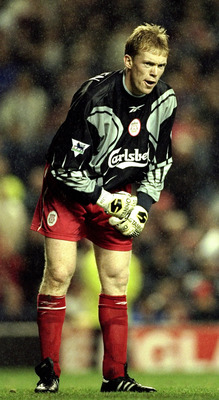 27 Sep 1999:  Steve Staunton of Liverpool is forced to become a makeshift goalkeeper during the FA Premier League match between Liverpool and Everton played at Anfiled, Liverpool, England. The Merseyside derby finished in a 1-0 win for visitors Everton.\