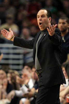 CHICAGO, IL - MARCH 20:  Head coach Mike Brey of the Notre Dame Fighting Irish reacts in the game against the Florida State Seminoles during the third round of the 2011 NCAA men's basketball tournament at the United Center on March 20, 2011 in Chicago, Il