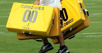 JACKSONVILLE, FL - JULY 28:  Equipment is carried on to the field during Jacksonville Jaguar training camp at Florida Blue Health and Wellness practice fields on July 28, 2011 in Jacksonville, Florida.  (Photo by Sam Greenwood/Getty Images)