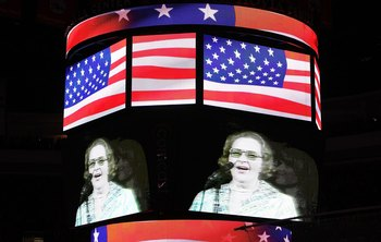 PHILADELPHIA - JUNE 09:  Singer Kate Smith is seen on the screen before Game Six of the 2010 NHL Stanley Cup Final between the Chicago Blackhawks and the Philadelphia Flyers at the Wachovia Center on June 9, 2010 in Philadelphia, Pennsylvania.  (Photo by