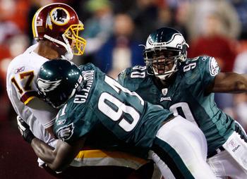 LANDOVER, MD - OCTOBER 26:  Quarterback Jason Campbell #17 of the Washington Redskins is sacked by Chris Clemons #91 of the Philadelphia Eagles during the fourth quarter action at FedEx Field October 26, 2009 in Landover, Maryland. The Eagles won the game