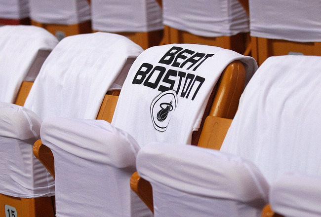 MIAMI, FL - MAY 11: A T-Shirt with the phrase 'Beat Boston' sits on a chair before Game Five of the Eastern Conference Semifinals of the 2011 NBA Playoffs between the Miami Heat and the Boston Celtics at American Airlines Arena on May 11, 2011 in Miami, F
