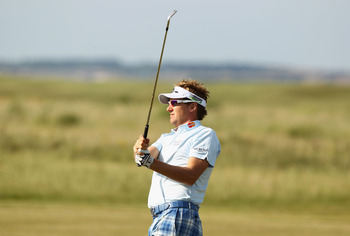 SANDWICH, ENGLAND - JULY 15:   Ian Poulter of England hits an approach during the second round of The 140th Open Championship at Royal St George's on July 15, 2011 in Sandwich, England. (Photo by Scott Halleran/Getty Images)