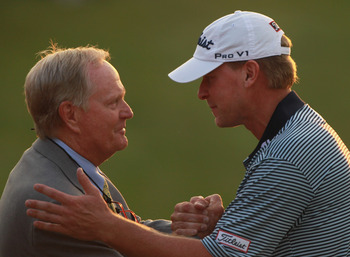 DUBLIN, OH - JUNE 05:  Steve Stricker (R) celebrates with tournament host Jack Nicklaus near the 18th green after winning the Memorial Tournament presented by Nationwide Insurance at the Muirfield Village Golf Club on June 5, 2011 in Dublin, Ohio.  (Photo