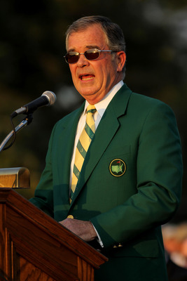 AUGUSTA, GA - APRIL 10:  William Porter Payne, chairman of Augusta National Golf Club speaks at the green jacket presentation at the 2011 Masters Tournament at Augusta National Golf Club on April 10, 2011 in Augusta, Georgia.  (Photo by Jamie Squire/Getty
