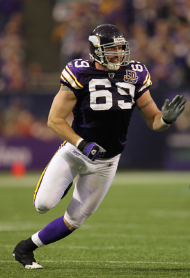 MINNEAPOLIS - SEPTEMBER 19:  Jared Allen #69 of the Minnesota Vikings in action during the first half of the game against the Miami Dolphins on September 19, 2010 at Hubert H. Humphrey Metrodome in Minneapolis, Minnesota.  (Photo by Jamie Squire/Getty Ima