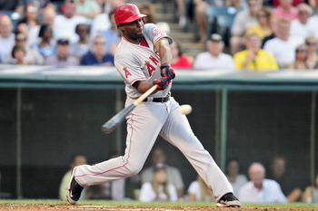 CLEVELAND, OH - JULY 25: Torii Hunter #48 of the Los Angeles Angels hits a single during the third inning against the Cleveland Indians at Progressive Field on July 25, 2011 in Cleveland, Ohio. (Photo by Jason Miller/Getty Images)