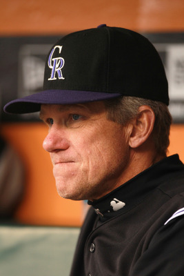 SAN FRANCISCO, CA - JUNE 03:  Manager Jim Tracy of the Colorado Rockies sits in the dugout before their game against the San Francisco Giants at AT&T Park on June 3, 2011 in San Francisco, California.  (Photo by Ezra Shaw/Getty Images)
