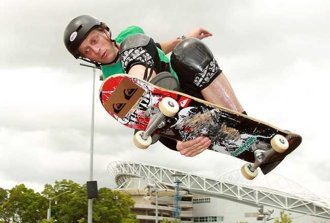 SYDNEY, AUSTRALIA - DECEMBER 03:  American skateboarder Tony Hawk performs at the Sydney 500 Grand Finale on the Sydney Olympic Park Street Circuit on December 3, 2010 in Sydney, Australia.  (Photo by Robert Cianflone/Getty Images)