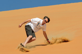 ABU DHABI, UNITED ARAB EMIRATES - FEBRUARY 05:  Laureus Sports Academy Member Tony Hawk during a Laureus Sandboarding Experience as part of the 2011 Laureus World Sports Awards in the Liwa Desert, Rub Al Khali (Empty Quarter) on February 5, 2011 in Abu Dh