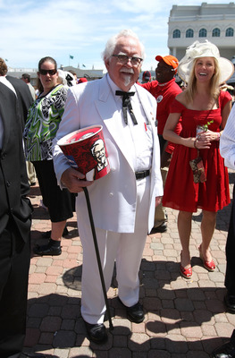 LOUISVILLE, KY - MAY 03:  A man dressed like Col Sanders stands in the Paddock area durinng the 134th running of the Kentucky Derby on May 3, 2008 at Churchill Downs in Louisville, Kentucky.  (Photo by Andy Lyons/Getty Images)