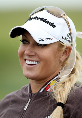 CARNOUSTIE, SCOTLAND - JULY 27:  Natalie Gulbis of the USA looks on during a practice round prior to the 2011 Ricoh Women's British Open at Carnoustie on July 27, 2011 in Carnoustie, Scotland. (Photo by Warren Little/Getty Images)