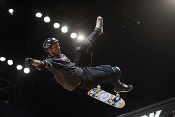 LOS ANGELES, CA - JULY 30:   Bob Burnquist competes in the Skateboard Vert Final during X Games 16 at the Nokia Theatre LA Live on July 30, 2010 in Los Angeles, California.  (Photo by Harry How/Getty Images)