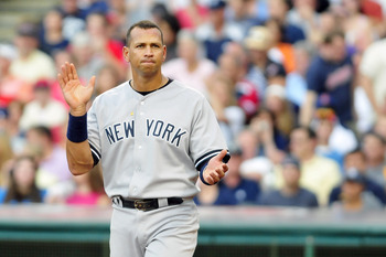 CLEVELAND, OH - JULY 6: Alex Rodriguez #13 of the New York Yankees reacts after the end of the second inning against the Cleveland Indians at Progressive Field on July 6, 2011 in Cleveland, Ohio. The Indians defeated the Yankees 5-3 to take the series 2-1