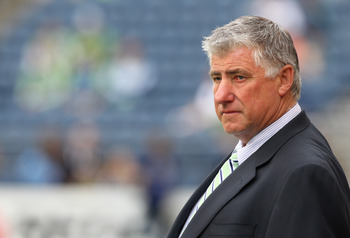 SEATTLE, WA - JUNE 23:  Head coach Sigi Schmid of the Seattle Sounders FC looks on prior to the game against the New York Red Bulls at CenturyLink Field on June 23, 2011 in Seattle, Washington. (Photo by Otto Greule Jr/Getty Images)