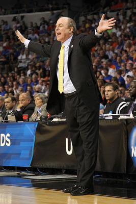 TAMPA, FL - MARCH 19:  Head coach Ben Howland of the UCLA Bruins reacts as he coaches against the Florida Gators during the third round of the 2011 NCAA men's basketball tournament at St. Pete Times Forum on March 19, 2011 in Tampa, Florida.  (Photo by Mi