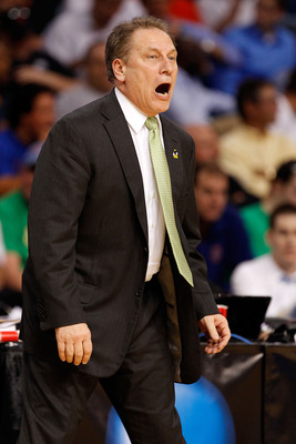 TAMPA, FL - MARCH 17:  Head coach Tom Izzo of the Michigan State Spartans yells as he coaches against the UCLA Bruins during the second round of the 2011 NCAA men's basketball tournament at St. Pete Times Forum on March 17, 2011 in Tampa, Florida.  (Photo