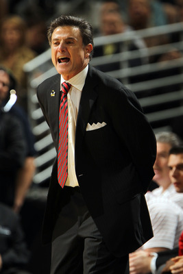 DENVER, CO - MARCH 17:  Head coach Rick Pitino of the Louisville Cardinals looks on from the sidelines against the Morehead State Eagles during the second round of the 2011 NCAA men's basketball tournament at Pepsi Center on March 17, 2011 in Denver, Colo