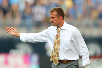 CHESTER, PA - JUNE 11: Head coach Jason Kreis of Real Salt Lake coaches on the sideline during a game against Philadelphia Union at PPL Park on June 11, 2011 in Chester, Pennsylvania. The game ended 1-1. (Photo by Hunter Martin/Getty Images)