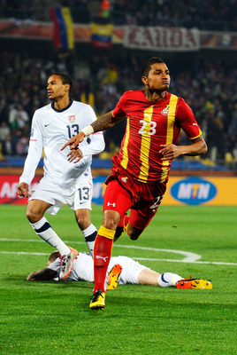 RUSTENBURG, SOUTH AFRICA - JUNE 26: Kevin Prince Boateng of Ghana celebrates scoring the opening goal during the 2010 FIFA World Cup South Africa Round of Sixteen match between USA and Ghana at Royal Bafokeng Stadium on June 26, 2010 in Rustenburg, South