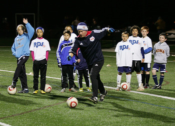 HILLBURN, NY - NOVEMBER 01: New York Red Bulls Development Schools youth coach John Burchill gives instructions to youth players during the New York Red Bulls training session at the Torne Valley Sports Complex on Novemebr 1, 2010 in Hillburn, New York. (