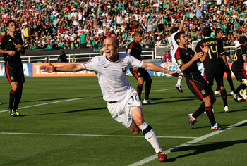 PASADENA, CA - JUNE 25:  Michael Bradley #4 of the United States celebrates after scoring a goal in the first half against Mexico during the 2011 CONCACAF Gold Championship at the Rose Bowl on June 25, 2011 in Pasadena, California.  (Photo by Stephen Dunn
