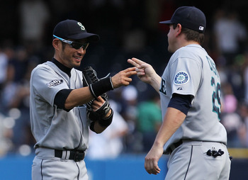 Ichiro (left) and Jack Cust (right) are relieved to have ended a nightmarish 17-game losing streak for the Seattle Mariners.