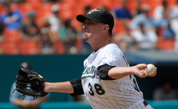 MIAMI GARDENS, FL - JULY 23: Randy Choate #38 of the Florida Marlins pitches during a game against the New York Mets at Sun Life Stadium on July 23, 2011 in Miami Gardens, Florida.  (Photo by Sarah Glenn/Getty Images)
