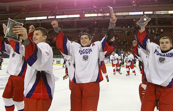 10 Nov 2000:  Russian team members pump their fists in celebration for their fans after defeating the USA 4-1 in the Men's 5 Nations Cup, a preview to the 2002 Winter Olympics, at the E Center in West Valley City, Utah.   Russia won the tournament of Unde