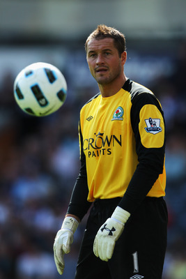BLACKBURN, ENGLAND - APRIL 09:  Goalkeeper, Paul Robinson of Blackburn in action during the Barclays Premier League match between Blackburn Rovers and Birmingham City at Ewood park on April 9, 2011 in Blackburn, England.  (Photo by Dean Mouhtaropoulos/Get