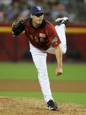 PHOENIX, AZ - JULY 10:  U.S. Futures All-Star Matt Moore #46 of the Tampa Bay Rays throws a pitch against the World team during the 2011 XM All-Star Futures Game at Chase Field on July 10, 2011 in Phoenix, Arizona.  (Photo by Jeff Gross/Getty Images)