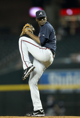 PHOENIX, AZ - MAY 18:  Starting pitcher Julio Teheran #57 of the Atlanta Braves pitches against the Arizona Diamondbacks during the Major League Baseball game at Chase Field on May 18, 2011 in Phoenix, Arizona.  The Diamondbacks defeated the Braves 5-4 in