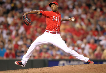 CINCINNATI, OH - JULY 24:  Aroldis Chapman #54 of the Cincinnati Reds throws a pitch during the game against the Atlanta Braves at Great American Ball Park at Great American Ball Park on July 24, 2011 in Cincinnati, Ohio.  (Photo by Andy Lyons/Getty Image