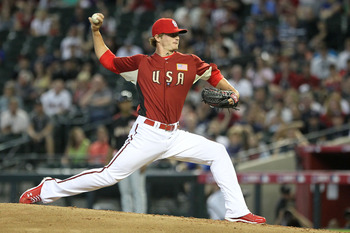 PHOENIX, AZ - JULY 10:  U.S. Futures All-Star Shelby Miller #19 of the St. Louis Cardinals pitches in the third inning during the 2011 XM All-Star Futures Game at Chase Field on July 10, 2011 in Phoenix, Arizona.  (Photo by Jeff Gross/Getty Images)